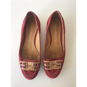 Casadei Red Suede Slip-on Flats